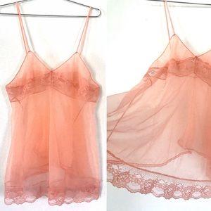 Vintage 1960's peach lace slip chemise tank top